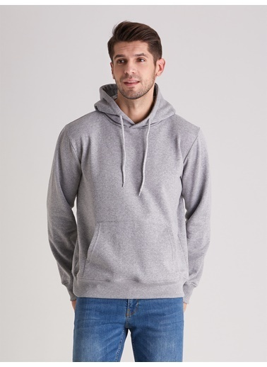 Dufy Zümrüt Yeşılı Kapüşonlu Kanguru Ceplı Erkek Sweatshırt - Slım Fıt Gri